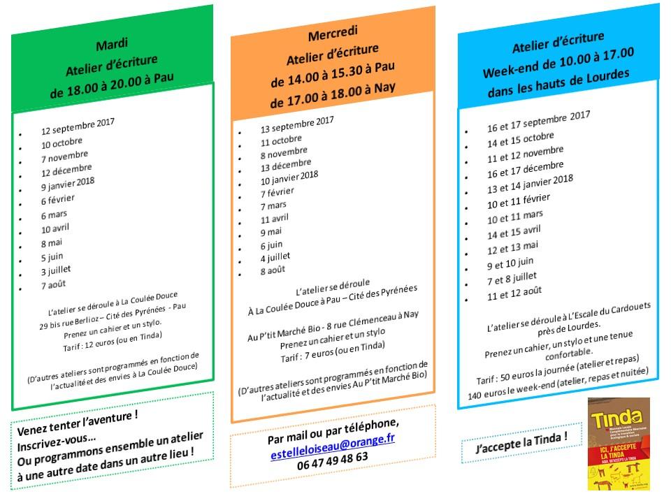 Programme des ateliers d'écriture Estelle Loiseau
